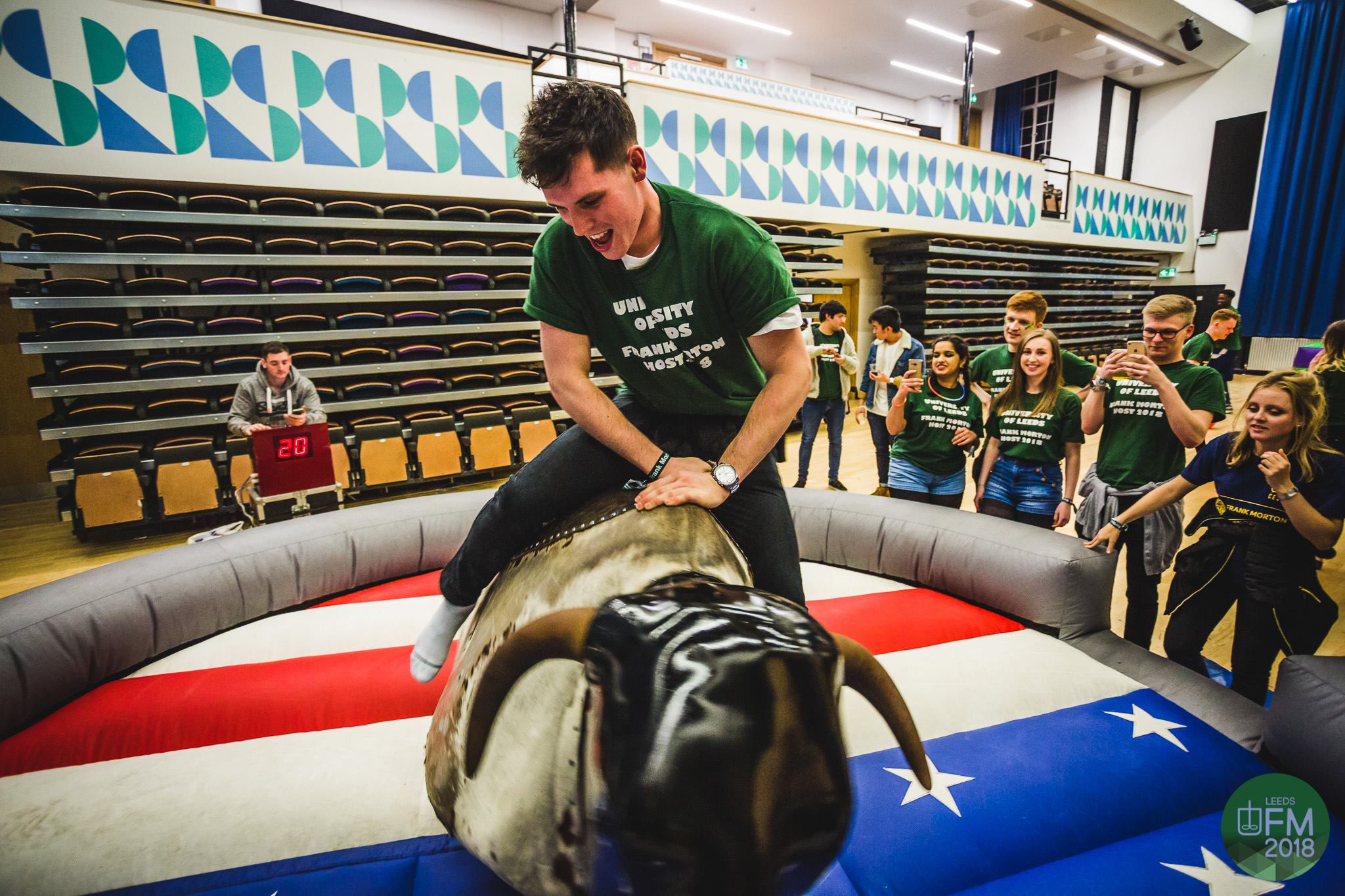 Student on mechanical bull at ChemSoc Frank morton annual sports day