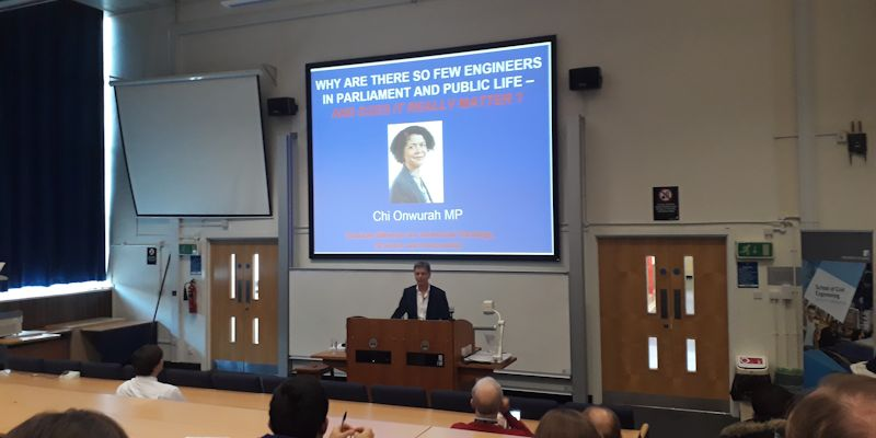 Dr Des McLernon presenting at Chi Onwura MP's talk at the University of Leeds