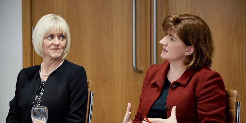 Baroness Nicky Morgan with Professor Lisa Roberts