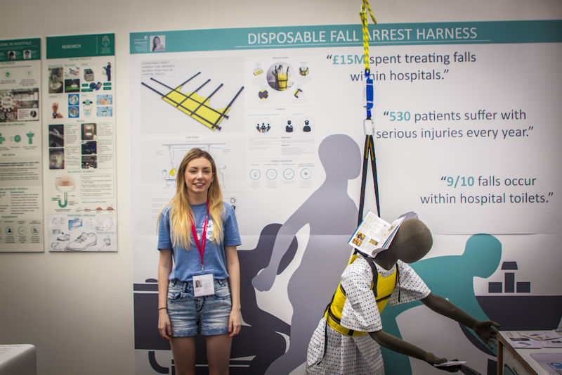 Product Design student Georgie with her project at New Designers