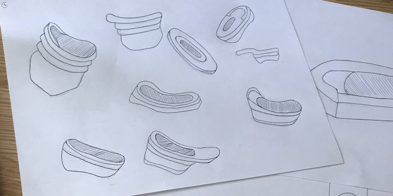 Summer Internship student Ellie's sketches to address the lack of female incontinence solutions