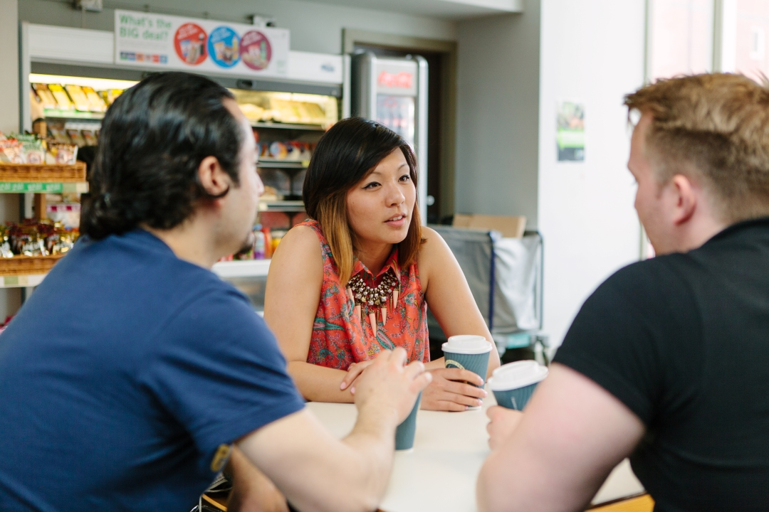 Chemical Engineering student Melissa Huang chats with friends at a university cafe