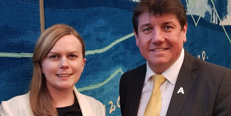 Jennifer Spragg and MP Stephen Metcalfe