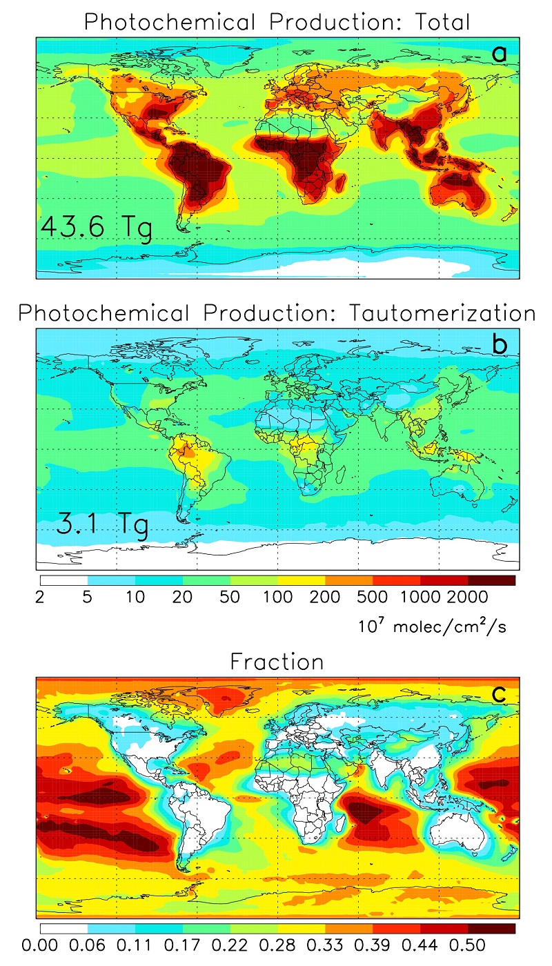 Maps depicting atmospheric concentrations of formic acid.