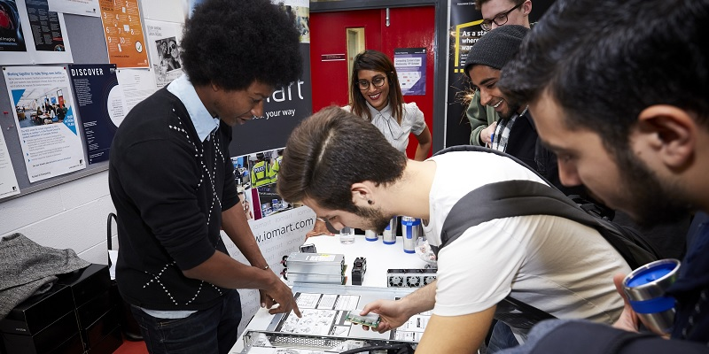 Students at a computing expo