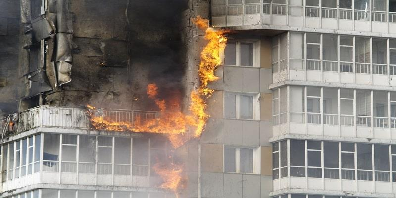 Fire spreading up tower block