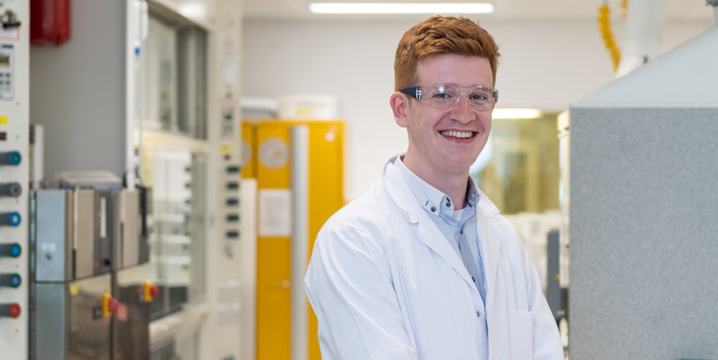 Undergraduate student James King on his industrial placement