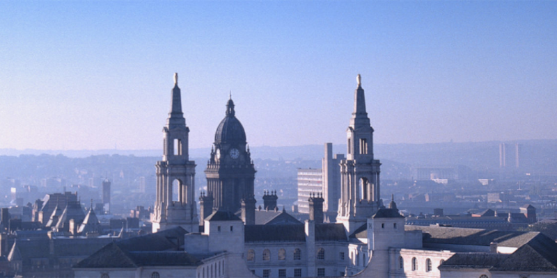 Panorama view of Leeds Town Hall and Civic Hall