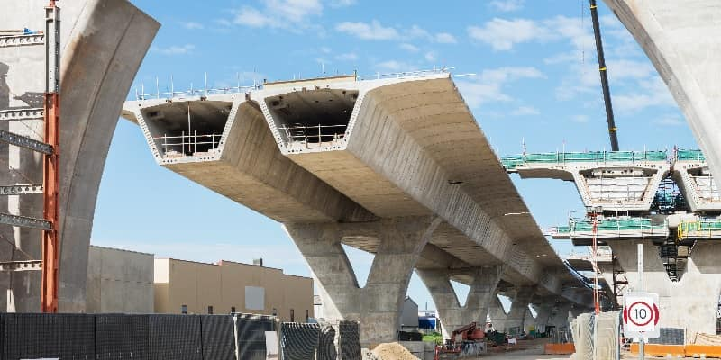 sections of a concrete bridge under construction