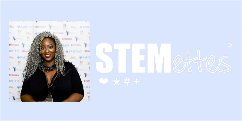 "Image of Dr Anne-Marie Imafidon and the logo of ""STEMettes"""