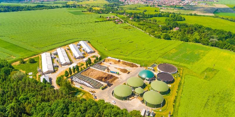 biogas plant surrounded by fields