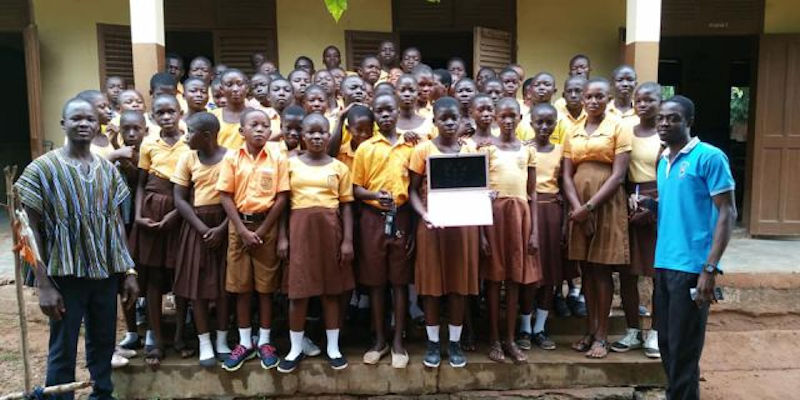 Postgraduate researcher in School of Mathematics donates laptop to school in Ghana