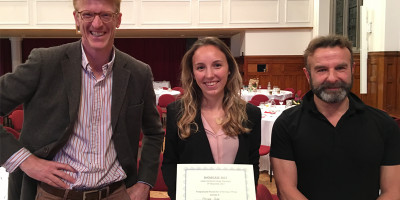 Floriane Gidel, winner of the Leeds Doctoral College Showcase Postgraduate Researcher of the Year 2017 award, flanked by proud supervisors Onno Bokhove (left) and Mark Kelmanson from the Department of Applied Mathematics.