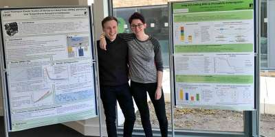 Two students at the Natural Sciences Student Conference.