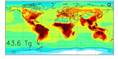 Map showing atmospheric concentrations