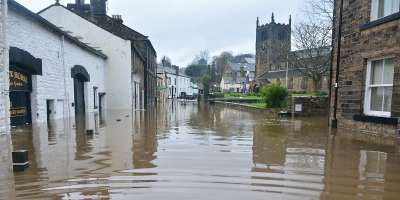 A flooded town in England