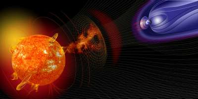 Computer generated image displaying a solar storm travelling from the sun to the earth